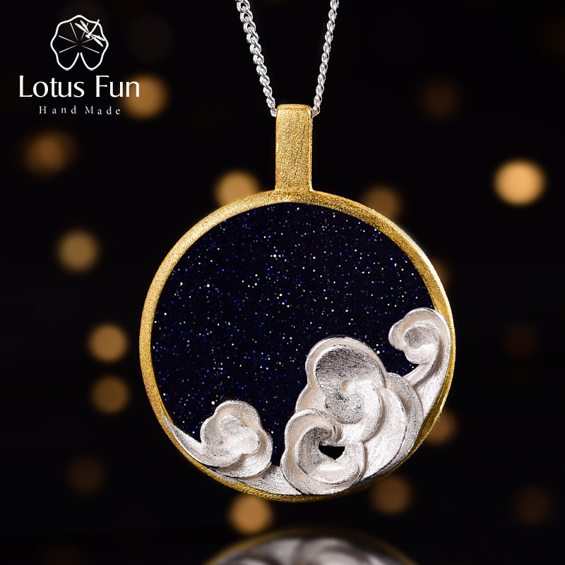 Lotus Fun Natural Gemstone Starry And Waves Pendant Without Necklace Real 925 Sterling Silver Handmade Fine Jewelry For Women