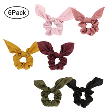 Hair Accessories Bow Scrunchies for Satin  Elastic HairBands Scrunchy Ponytail Holder Women Young Lady