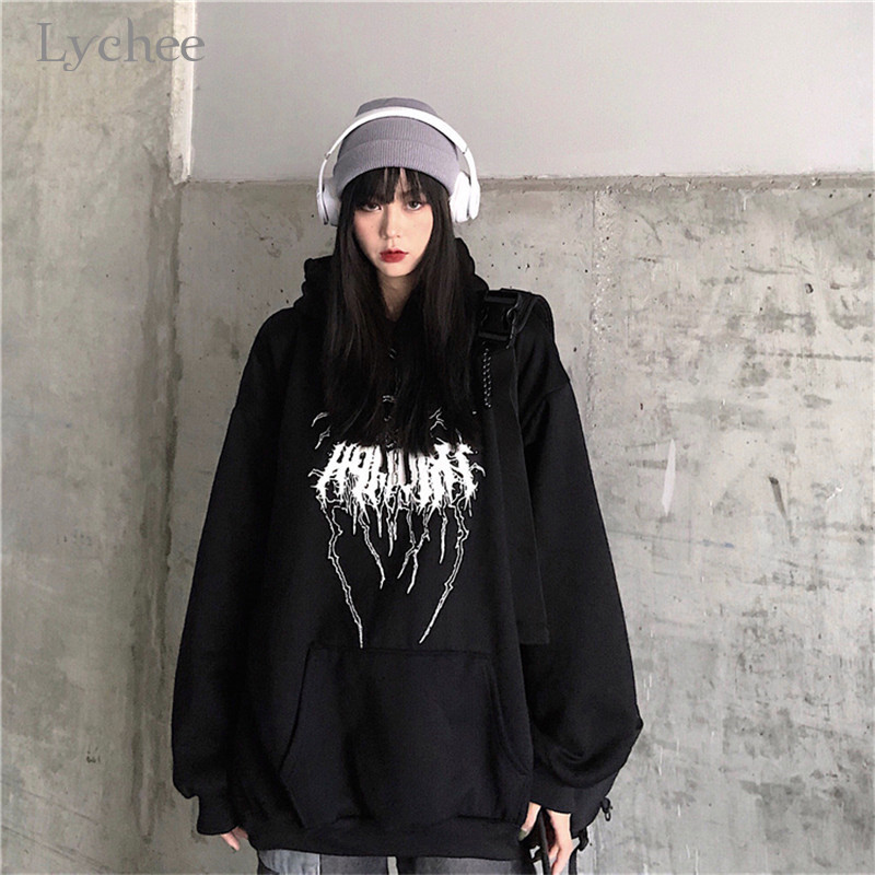 Lychee Harajuku Casual Loose Female Fleece Hoodies Lightning Letter Women Fleece Hooded Sweatshirt Autumn Lady Hooded Fleece Top