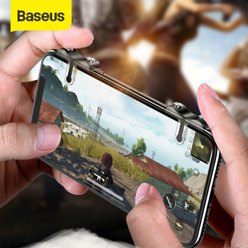 Baseus For PUBG Mobile Gamepad Joystick L1R1 Mobile Phone Game Shooter Controller Trigger Fire Button Handle for iPhone Android pubg mobile gamepad pubg controller for iphone android ios for phone l1r1 grip with joystick trigger l1r1 pubg fire buttons