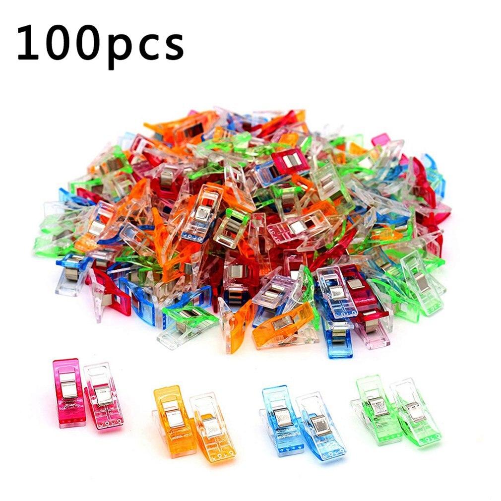 100 шт. цветные зажимы для шитья, пластиковые зажимы для лоскутного украшения, зажимы для одежды, швейные инструменты
