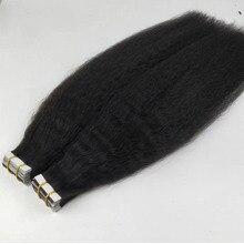 40 шт., лента для наращивания человеческих волос, курчавая Прямая Кожа, Невидимая клейкая невидимая грубая лента Yaki, волосы коричневого цвета...