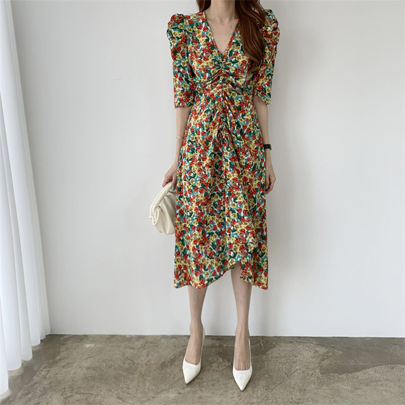 HziriP Elegance Chic All Match Chiffon Casual Florals 2020 Chic Sexy V-Neck Summer Office Lady Retro Vintage New Women Dresses