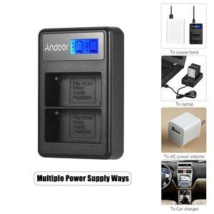 Image 2 - Andoer F550 カメラバッテリー充電器キット 2 * NP F550 バッテリー + LCD2 NPF550 デュアルチャンネルバッテリー充電器液晶ディスプレイビデオライト
