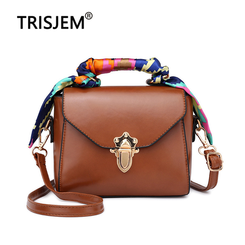 2020 Vintage Women's Crossbody Bag With Scarf Brown Sac A Main Ladies Shoulder Bag Small Lock Female Messenger Bag Bolso Mujer
