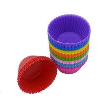 Molde para magdalenas de silicona, 7cm, redondo, para pastel, molde de manualidades para hornear, pudín, pastel