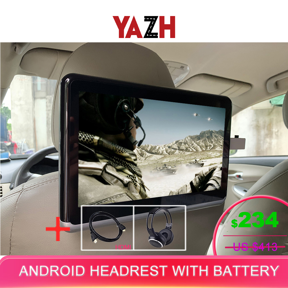 YAZH Android With 4500mAh battery Car Headrest Monitor 1PCS 1080 HD with WIFI Bluetooth HDMI output USB SD Card no cd DVD Player Car Monitors     - title=