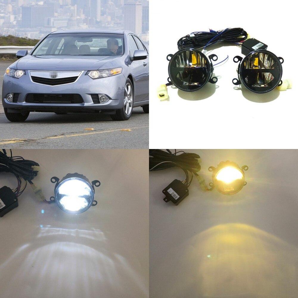 July King 24W Bifocal boîtier de lampe antibrouillard pour Acura TSX 2011-2014, 6000K feux de jour DRL + feux de route + feux de croisement 4300K