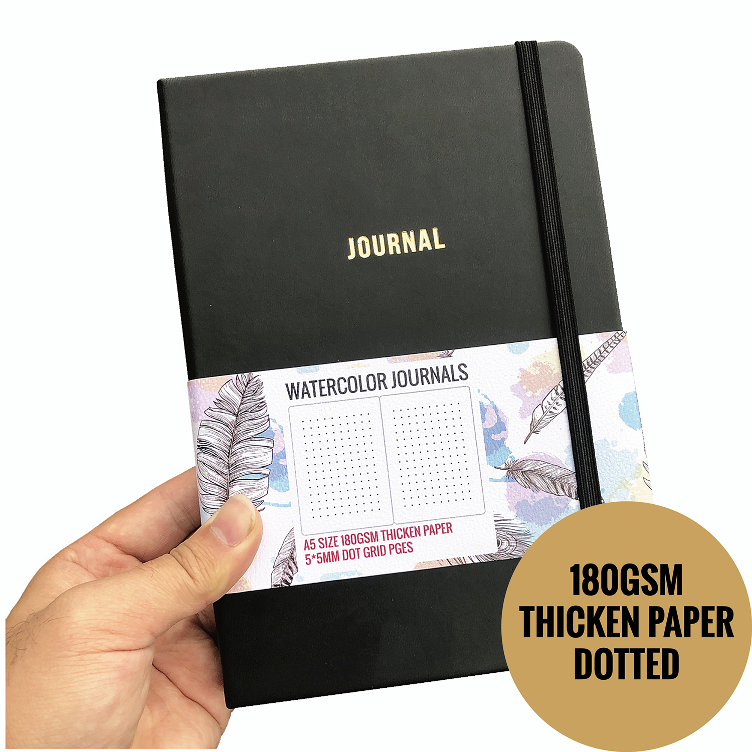 Notebooks Journals Watercolor Thicken Paper 180GSM Dot Gird 160 Pages 5X5mm Dotted