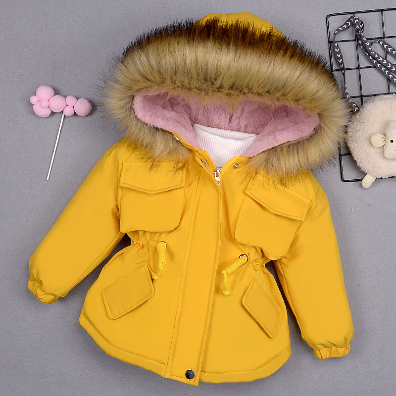 Baby Girl Denim Jacket Plus Fur Warm Toddler Children's Winter Girl's Cotton Padded Clothes Baby's Thickened Cotton Padded Coat