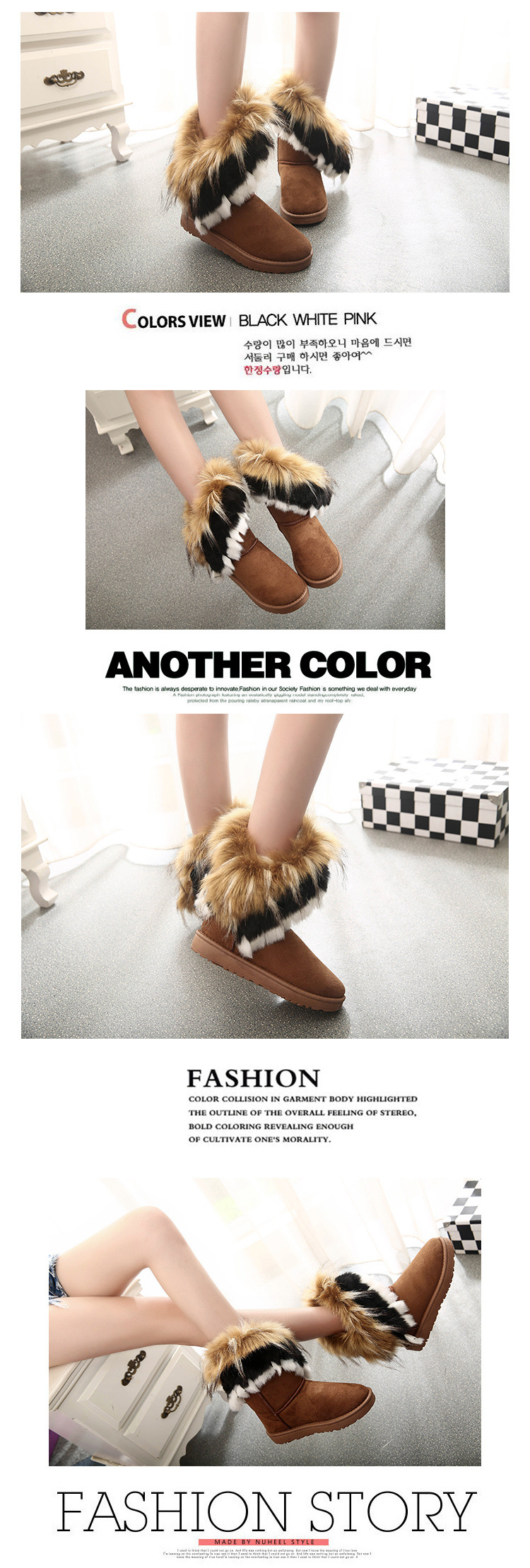 Women Fur Boots Ladies Winter Warm Ankle Boots For Women Snow Shoes Style Round-toe Slip On Female Flock Snow Boot Ladies Shoes 28