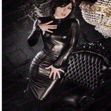 Сексуальная водолазка искусственная кожа платье для женщин с длинным рукавом средней длины Bodycon Vestidos эротический фетиш стрейч латекс облегающий Ночной костюм