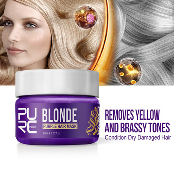 PURC Purple Hair Mask Repairs Frizzy make hair soft smooth Removes yellow and brassy tones hair mask 1