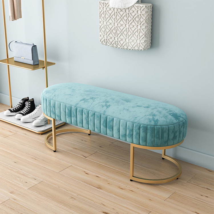 Soft Velvet Ottoman Long Bench Shoe Stools For Home Living Room Furniture Dresser Chair Pouf Footstool Changing Stool