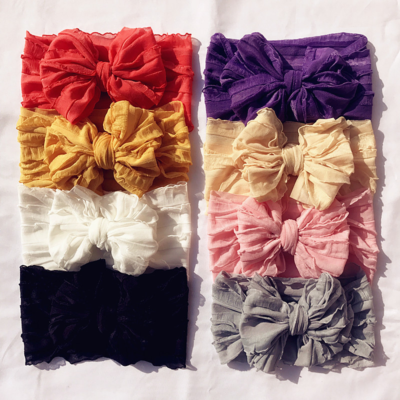 16 Pcs/lot Baby Girls Lace Bows Headband Vintage Princess Headdress Spring Large Knot Bows Hair Accessories Toddler Headwrap