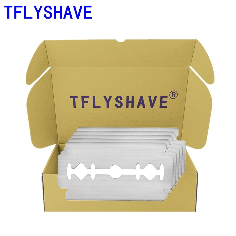 TFLYSHAVE 5pcs Double Edge Shaving Razor Blades For Men Face Care Classical Stainless Steel Shaver Beard Manual Shaver