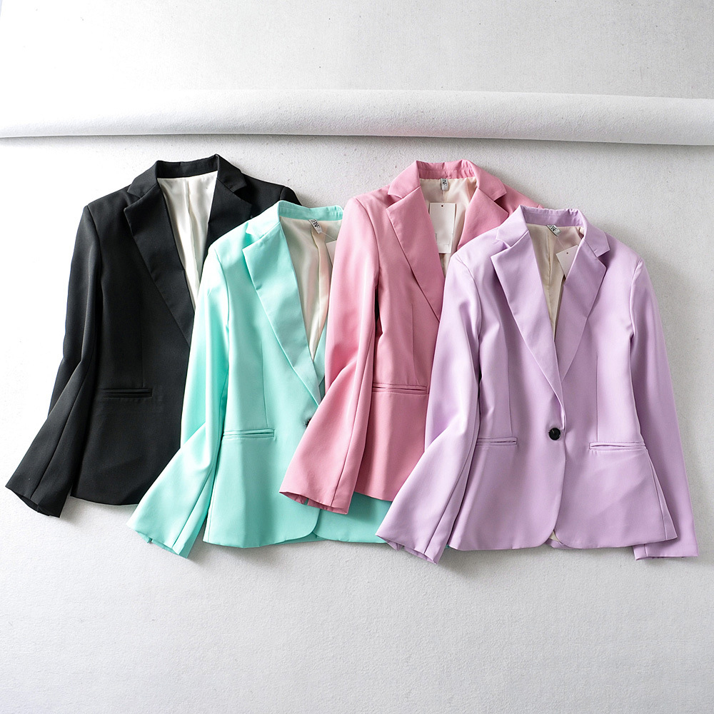 Hf1218cbe6c2c4869ad3e2ad82e090edfy - Autumn Women Pant Suits Pink Single Button Blazer Jacket+Zipper Trousers Office Ladies Suits Two Piece Set Female Outwear