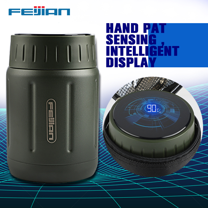 FEIJIAN Food Thermos, Vacuum Lunch Box, 316 Stainless Steel, Intelligent Temperature Display Lunch Container,750ML,CoffeeTumbler