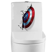 3D Vivid Captain America Shield Through Decorative Wall Stickers For Toilet Decor The Avengers Wall Decals Art PVC Mural Posters(China)