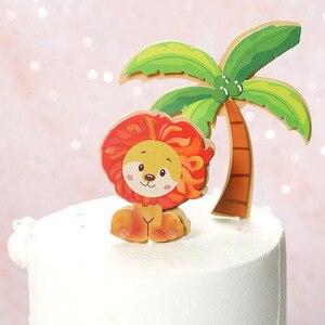 Image 4 - 1 סט חיות ספארי יום הולדת עוגת טופר יער האריה קוף Theme ילדים מסיבת יום הולדת עוגת קישוט ילדי ספקי צד