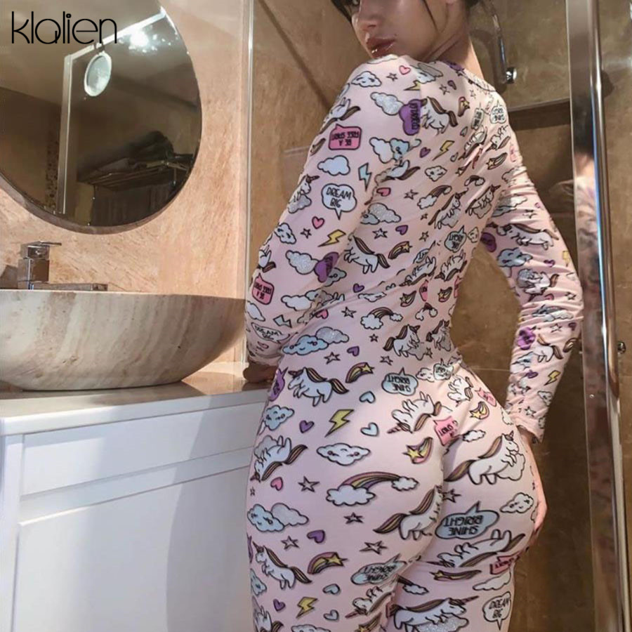 KLALIEN Female Rainbow Unicorn Print Bodycon Fitness Jumpsuit Long Rompers 2020 New Women Sporting Bodysuit Slim Cute Girl Style