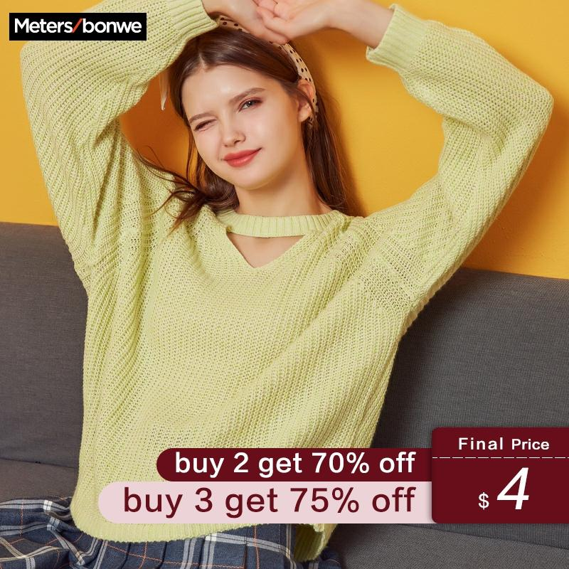 Metersbonwe 2019 Knitted Sweater Women Pullovers V Neck Autumn Winter Women Mix Colour Sweaters Korean Style Loose Fit