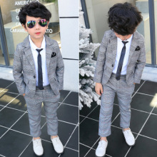 Baby Boys Blazer Suit Kids Boys Plaid Jacket+pants 2pcs Sets