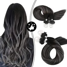 Micro Ring Hair Extensions Human Hair Loop Real Soft Hair Balayage Color #1B Off Black Fading to Silver Machine Remy Hair 50G