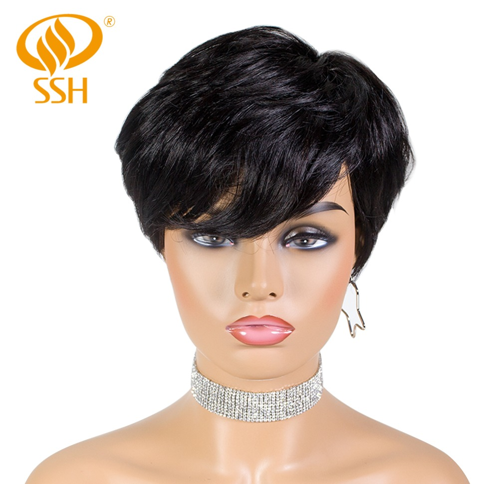 SSH Short Human Hair Wigs Pixie Cut Straight Brazilian Remy Hair With 1B Off Black Color Glueless Wig For Women Free Shipping