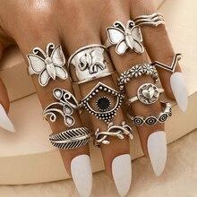 14pcs/set Bohemian ring set Vintage Punk Antique silver-Color Resin Finger Rings for Women Boho midi finger knuckle A30