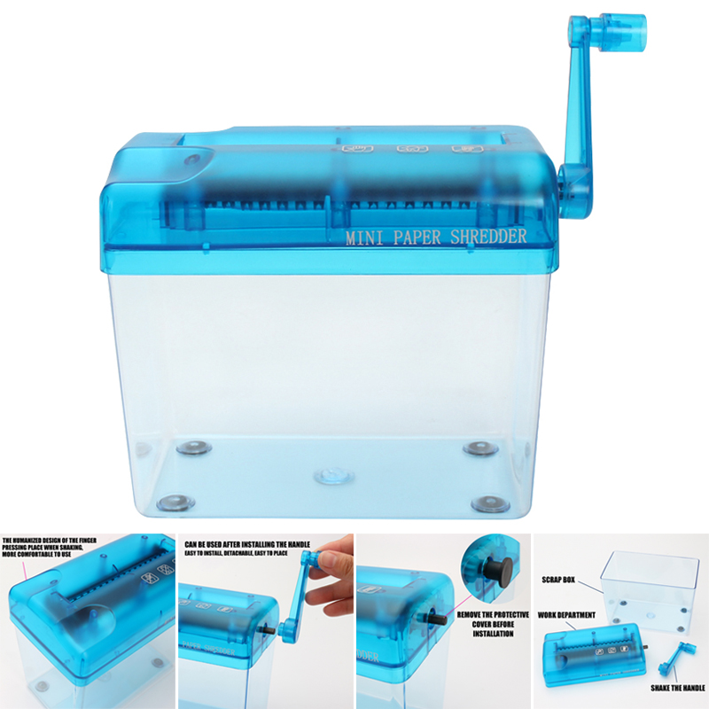 Mini Blue Shredder A6Manual Crusher Destroyers Paper Documents Cutting Machine For Home Office Desktop FKU66