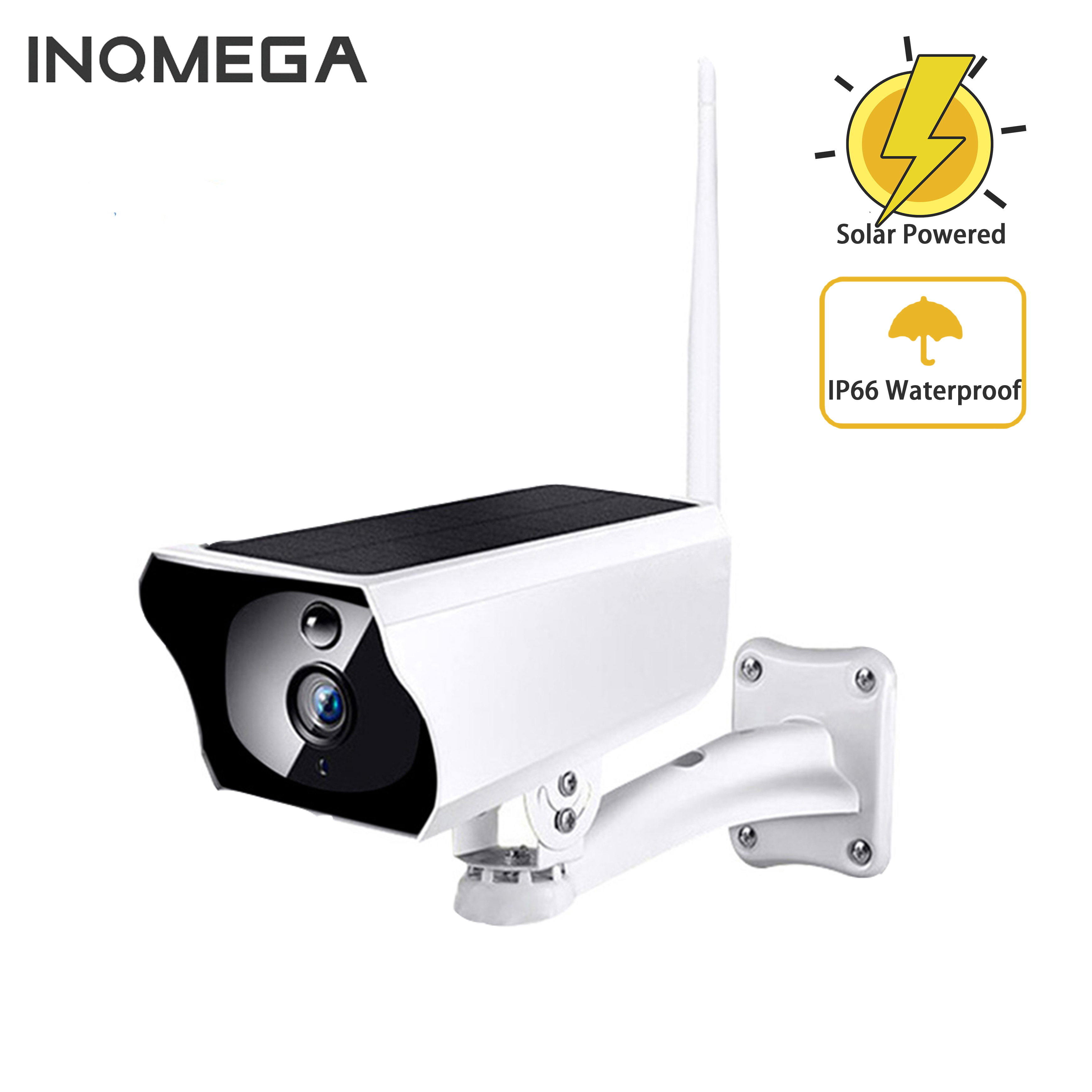 INQMEGA Solar Powered WiFi IP Camera 1080P HD Outdoor Charging Battery Wireless Security Camera PIR Bullet Surveillance CCTV
