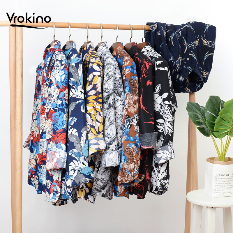 Large Size 7XL 8XL 9XL 10XL 2019 Spring And Autumn Printed Long-sleeved Shirt Men's Fashion Classic Flower Shirt 13 Color Choice