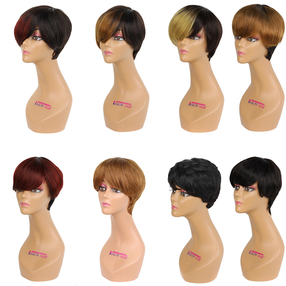 BHF Natural Human Hair Wig Machine Remy Brazilian Straight Pixie Cut Trendy Wig For Women