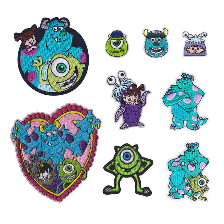 Monster Company embroidered iron on patch, movie Sulley and Mike fabric badge, Cartoon Character clothing accoriesses DIY