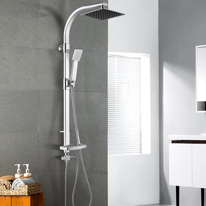 Hf1227f0a41c744c092847b0714c4eb3a8 Aluminum Alloy Shower System Set Bathtub Thermostatic Shower Mixer With Hand Shower Soap Box Bathroom Faucets Shower Set HWC