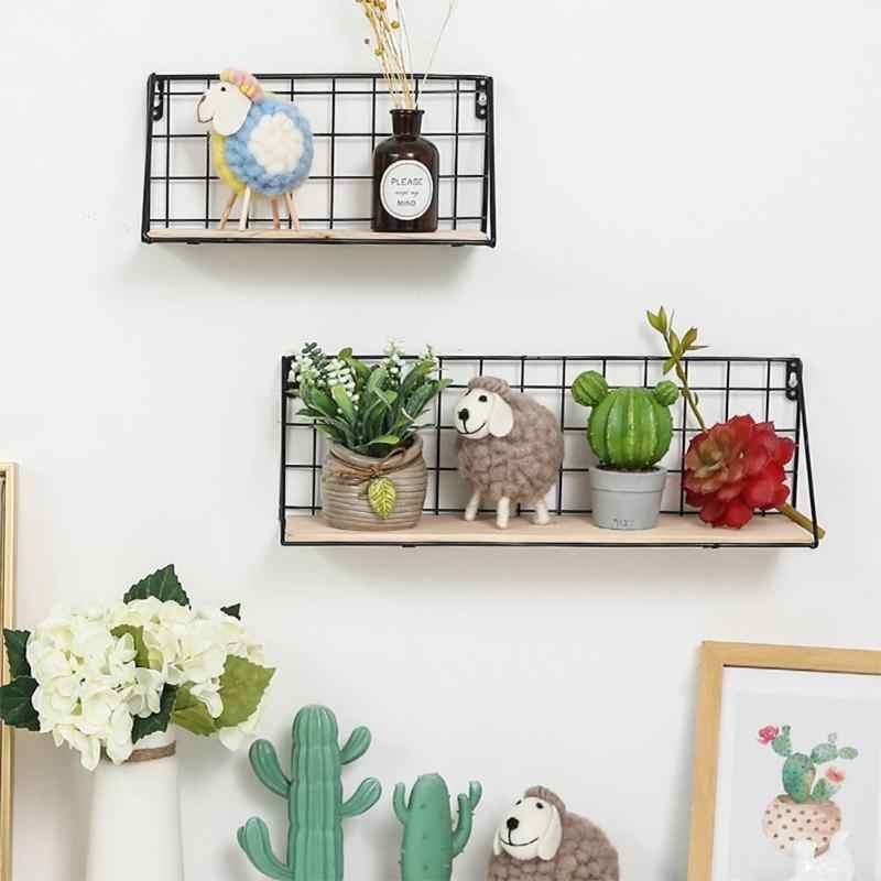 الإبداعية جديد خشبية الحديد رف جدار الحائط تخزين الرف منظمة نوم المطبخ المنزل غرفة الطفل DIY بها بنفسك جدار ديكور حامل
