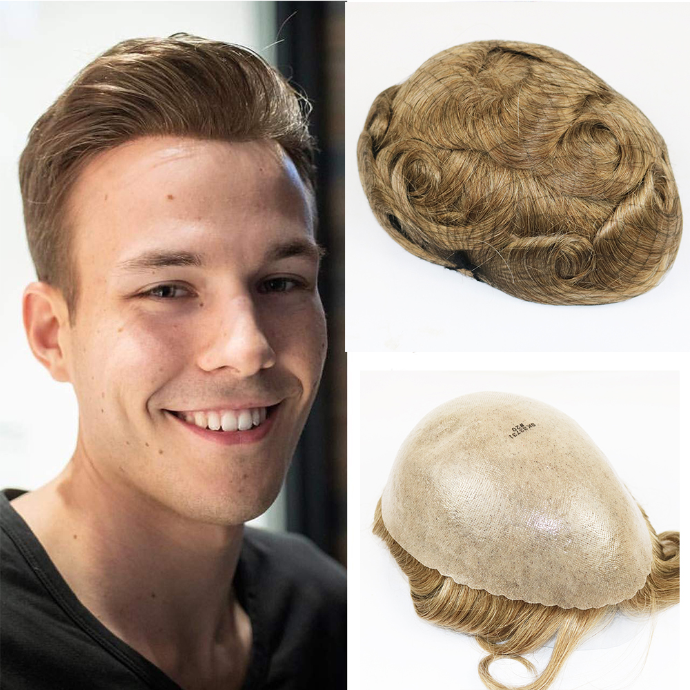 PU Skin Toupee For Men Remy Human Hair Pieces For Men With 8