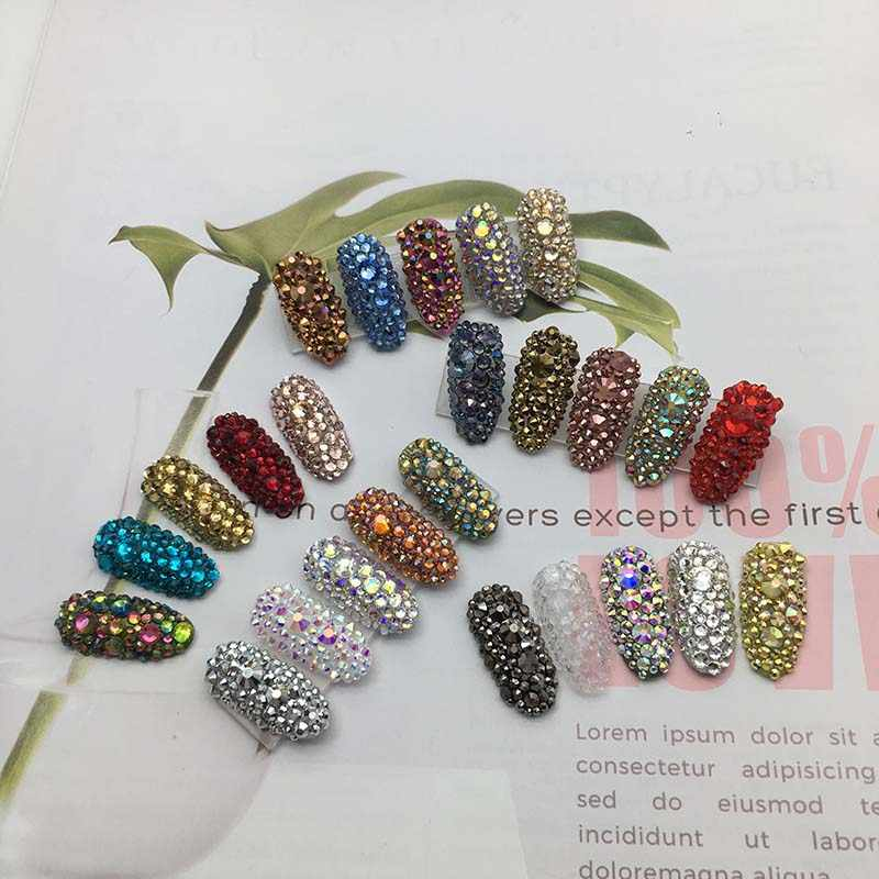 1440pcs/lot 39 Colors Mix 6 Sizes Stones Non Hot Fix Flat Back Rhinestone  For Nail Art  Decorations Round Crystals