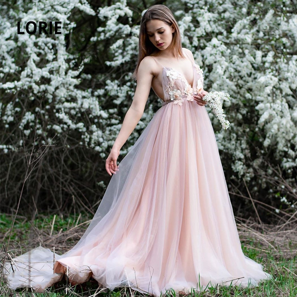 LORIE Soft Tulle Wedding Dresses Boho 2020 Appliqued V-neck Sleeveless Backless Beach Princess Bridal Gowns Plus Size Customized