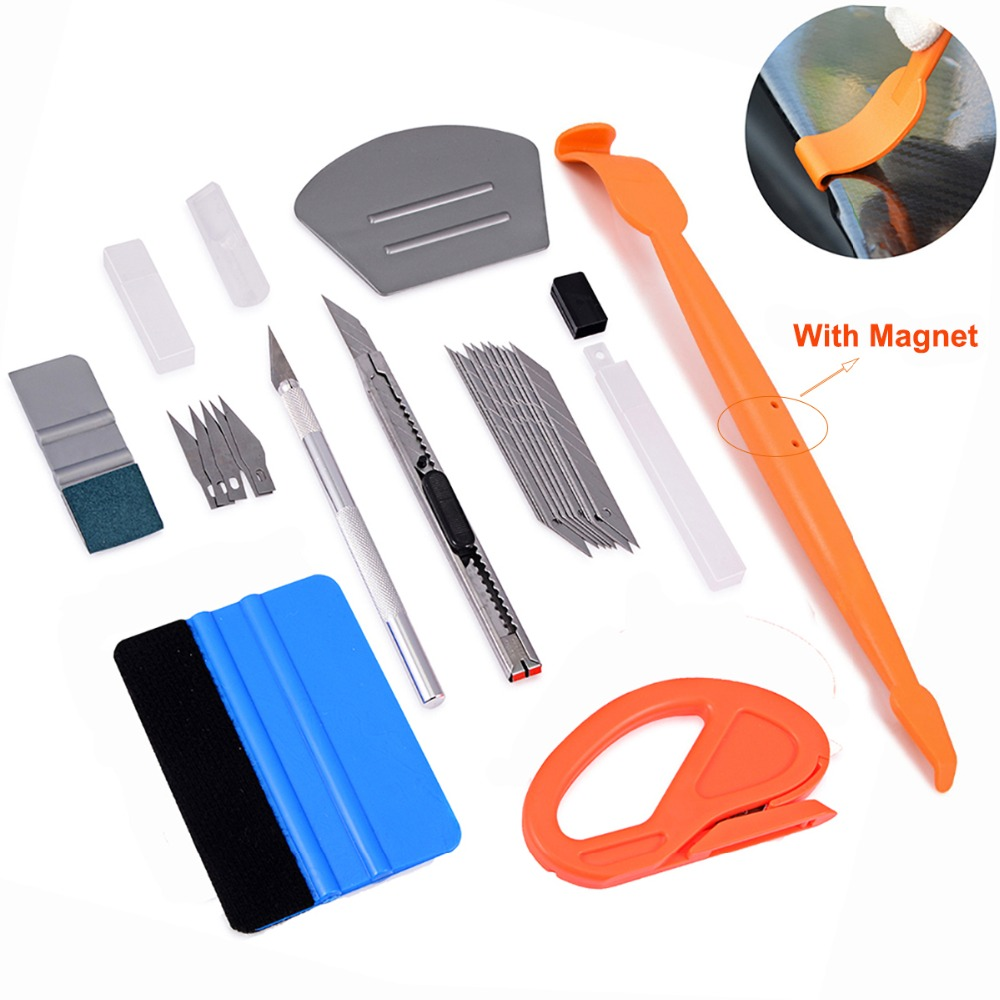 Carbon fiber vinyl film stickers wrap car tools kit micro magnet squeegee felt scraper window tinting tool sheet safety cutter(China)