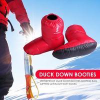 Водонепроницаемые ботинки на утином пуху; спальный мешок; тапочки; сверхлегкие мягкие носки; походные инструменты; зимняя обувь