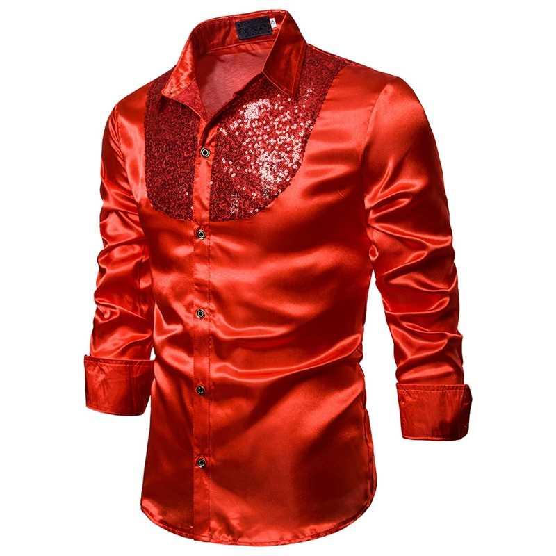 Puimentiua Mens Luxe Pailletten Jurk Shirts Lange Mouwen Satin Shiny Disco Party Shirt Mannen Stage Dance Nachtclub Prom Kostuum