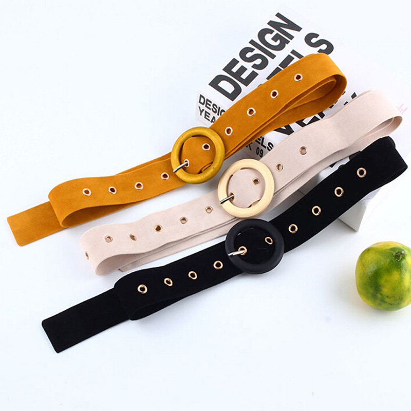 PU Leather Fashion Ladies Wild Belts Buckle Suede Belt Velvet Waist Belt For Women Dress Clothing Decorations