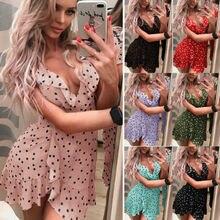 Boho Women Summer Polka Dot Short Dress V-neck Ladies Holiday Beach Mini