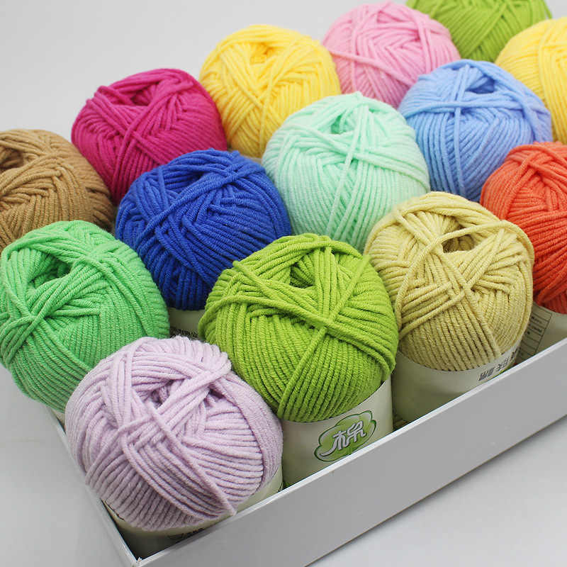 100G Pure Cotton 5 Shares Milk Cotton Yarn Baby Yarn Special Offer Medium Thickness shou bian xian Crocheted Doll Line