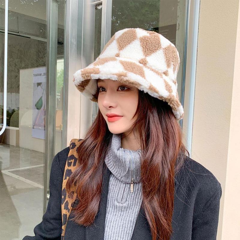 Faux Fur Leopard Fluffy Hat Women Girl Winter Outdoor Travel Tie Dye Plaid Panama Hats Hick Warm Velvet Fisherman Bucket Cap New