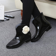 Dropshipping Women Shoes Flower Bowtie Autumn Ankle Boot Winter Rain Boots Female Waterproof Solid Rubber Shoes Ladies Footwear(China)