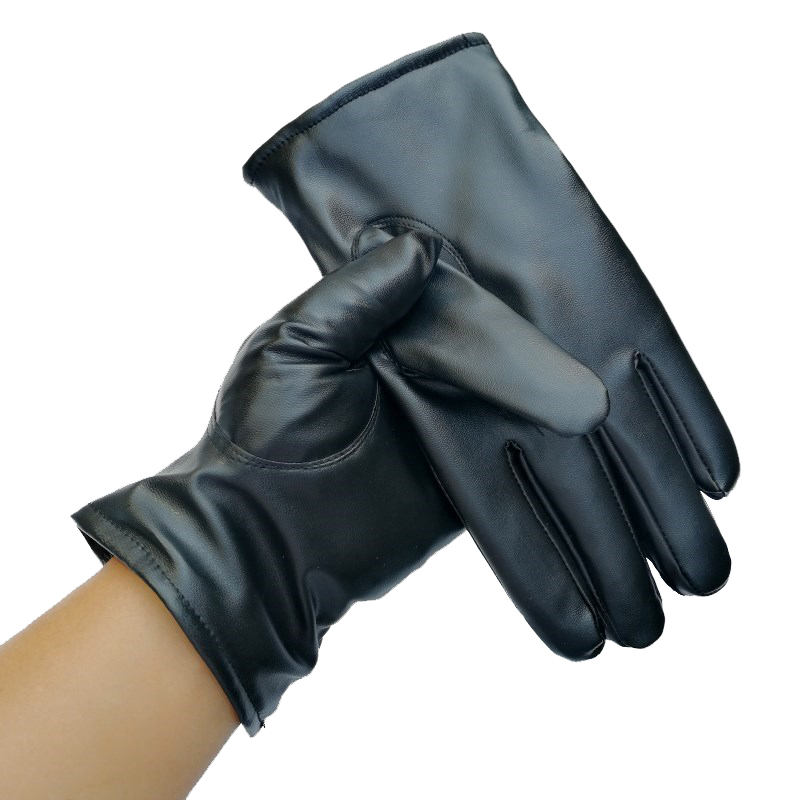 Mens PU Leather Winter Warm Mittens Gloves Cashmere Outdoor Button Windproof Gloves Driving Luxurious Luvas Motociclismo