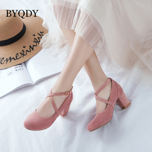 BYQDY Spring Round Toe Women Pumps Mary Jane Shoes Ladies High Heels Party Wedding Shoes Thick Heel Pumps Footwear Casual Shoes women s velvet med heel comforable mary jane pumps brand designer round toe spring new female cute footwear shoes for women sale
